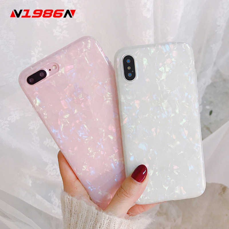 N1986N โทรศัพท์กรณีสำหรับ iPhone 6 6s 7 8 Plus X XR XS Max Glossy Glitter Bling Conch Shell marble นุ่ม IMD สำหรับ iPhone XS โทรศัพท์กรณี