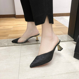 Image 5 - Summer Sandals Pointed Toe Mixed Color Slippers Middle Heels Ladies Outside Wear Half Slippers Women Comfortable Women Sandals