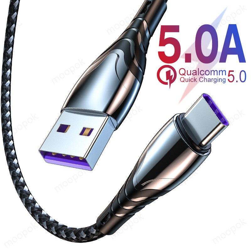5A 2 м USB Type C кабель Micro USB для быстрой зарядки для Huawei зарядного устройства для мобильных телефонов с системой Android для Xiaomi Samsung быстрозаряжающий Кабель с разъемом Micro USB Дата-кабель