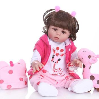 NPK48CM bebe doll reborn toddler girl doll in pink dress full body vinyl realistic baby Bath toy waterproof Anatomically Correct