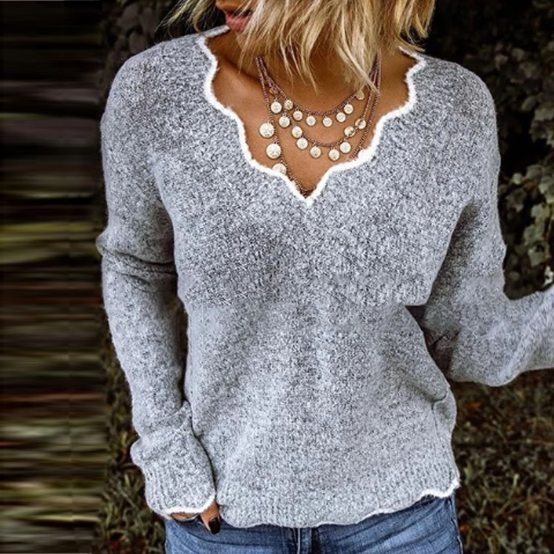 Sweater Warm Clothes V-Neck Lace Clouds Spring Women Autumn Hot-Sale Casual Full-Fleece title=