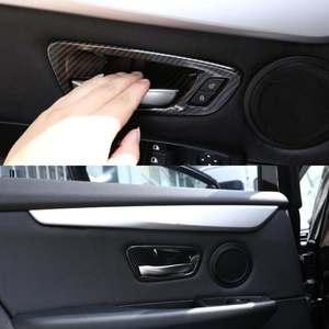 Image 3 - 탄소 섬유 인테리어 도어 핸들 그릇 커버 트림 ABS 4Pcs BMW 2 시리즈 그란 Tourer F45 F46 218i 2014 2015 2016 2017 2018