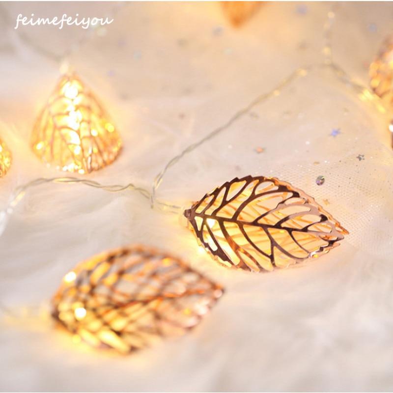 Metal Leaves Style String Garland Light String Battery PowerChristmas Valentine's Day Living Room Garden LED String Lights Decor