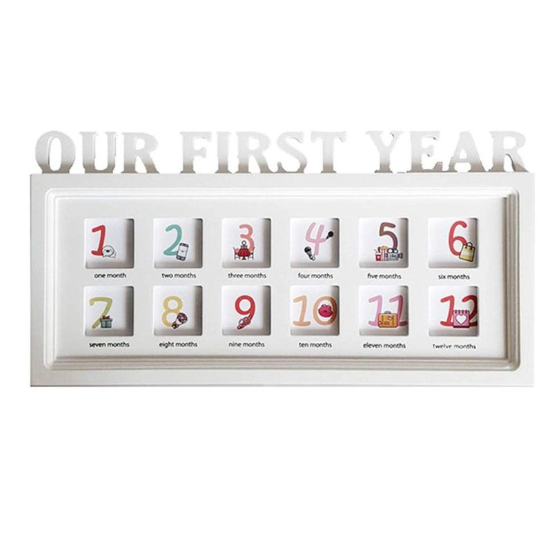Infant 12 Months Creative Newborn Photo Frame Wooden Baby First Year Growth Record Photos Display Decoration