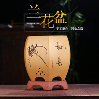 Purple sand Flower Pot Six Square Nest Indoor Household Gentleman Blue Breathable Ceramic Bonsai Pot