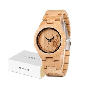 Image 5 - Bobo Vogel Vrouwen Horloges Relogio Feminino Elanden Gegraveerd Gezicht Bamboe Houten Horloges Luxe Merk Handgemaakte Houten Band C dE04