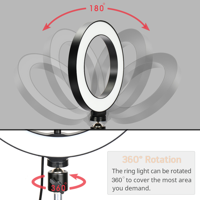 LED Ring Light Photography Lighting Selfie Lamp USB Dimmable With Tripod For Youtube Photo Studio Makeup Video Live 2