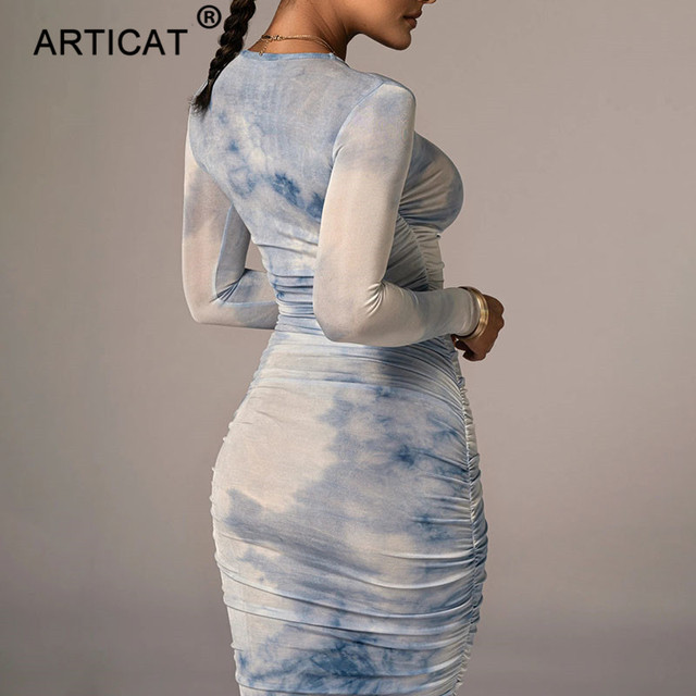 Articat Tie-Dye Print Ruched Christmas Dress For Women Long Sleeve Sexy Bodycon Winter Dress Elastic Pleated Casual Party Dress 4