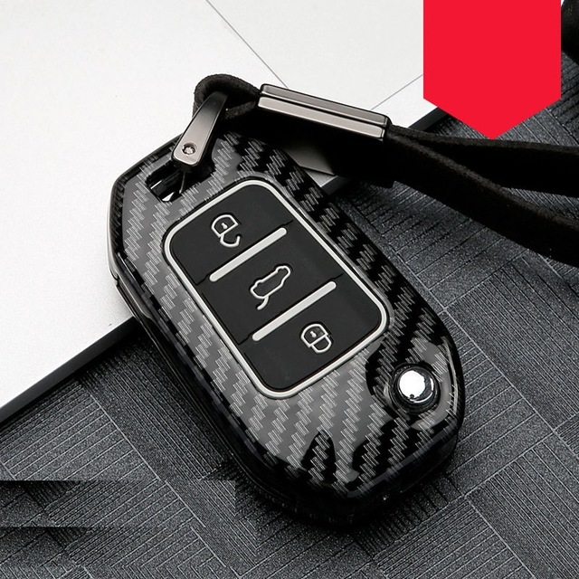 Cabon Fiber 3 Button All inclusive Car Key Case Cover For Peugeot 107 308sw 407 208 508 408 2018 Accessories Protection Shell