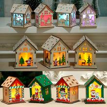 Christmas Wooden House Lights Merry Decor For Home Navidad 2019 Cristmas Happy New Year 2020