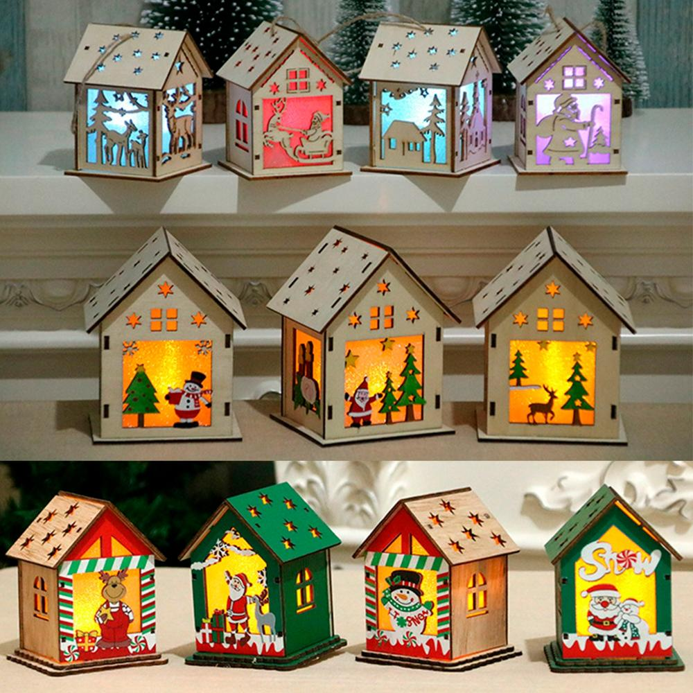 Ornaments Christmas Wooden House Merry Christmas Decor for Home Navidad 2019 Cristmas Decor Christmas Pendant New Year 2020-in Pendant & Drop Ornaments from Home & Garden