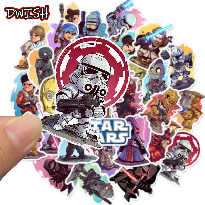 10 30 50pcs Cartoon Star Wars Waterproof Children Stickers Skateboard Guitar Suitcase Freezer Graffiti Sticker Kids