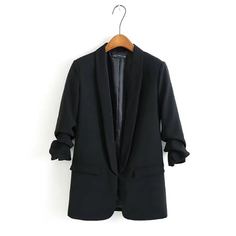Women ZA Blazers Casual Coats Wrinkled Sleeves Double Pockets Suit Jackets Solid Office Lady Blazers Loose Female Ropa Outerwear