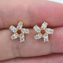 AAA+ Cubic Zirconia Gold Color Women Fashion Clear CZ Pinwheel Stud Earrings Jewelry(China)
