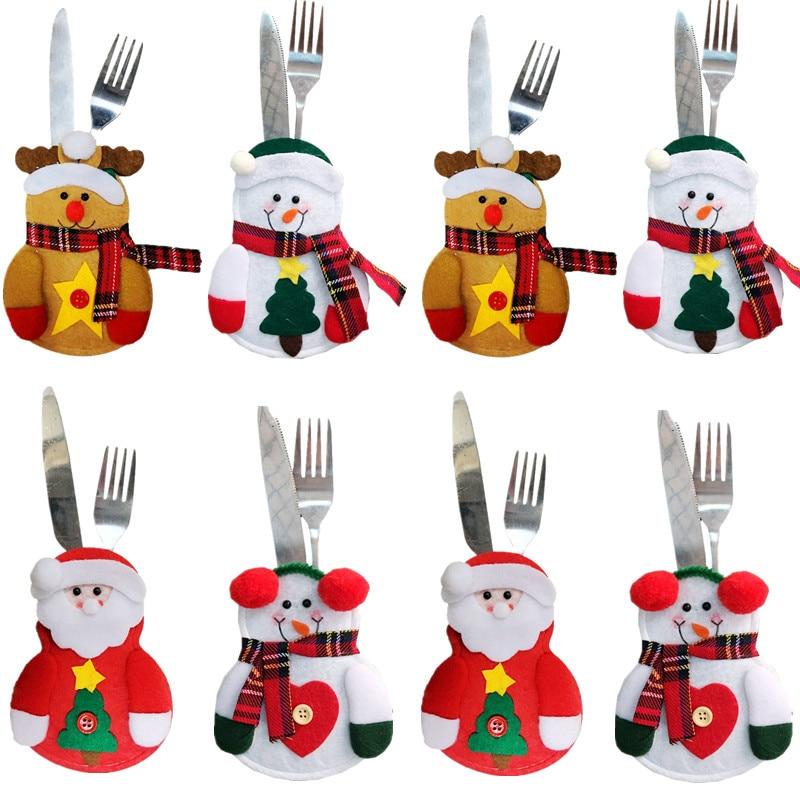 8 шт., рождественские украшения, снеговик Кухня посуда держатель мешка вечерние подарок на Рождество, украшение, рождественские украшения д...