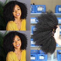 Afro Kinky Curly Bundles Brazilian Hair Weave Bundles 100% Remy Human Hair Extensions Natural Color 8 28inches Double Weft