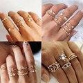 Женский комплект колец с геометрическим кольцом IPARAM, Винтажное кольцо в богемном стиле с золотыми кристаллами, вечерние ювелирные изделия