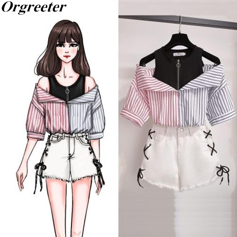 Plus Size Two Piece Shorts Set Women Summer Striped Patchwork Off Shoulder Tops Blouse And White Side Cross Tie Up Shorts Suits