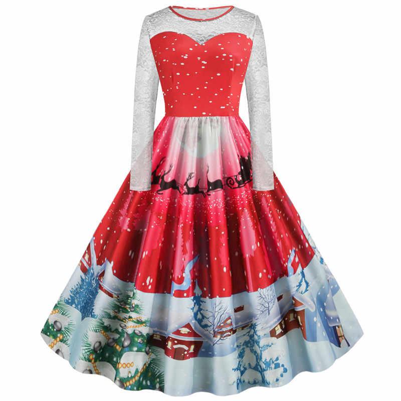 Женское рождественское платье большого размера, винтажное рождественское платье Санта Клауса с длинными рукавами, рождественское платье, вечерние платья, Новое поступление 2019