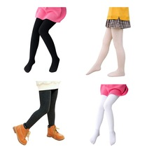 Осенние леггинсы для маленьких девочек, Мягкие штаны, леггинсы, Детские милые плотные эластичные однотонные штаны с принтом