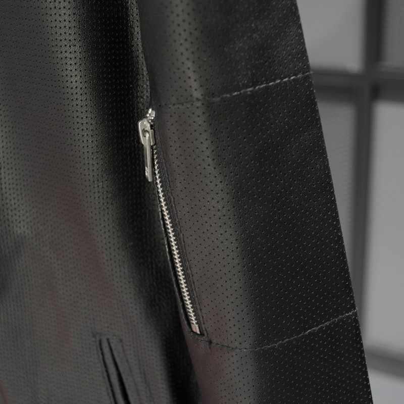 新しい男性羊革ジャケット秋中空スタンドカラースリムアビエイジャケットカジュアル本物のパイロットコート