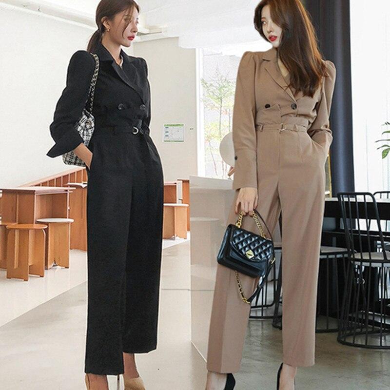 2020 Spring New Pattern Women's 2Piece Set Korean Edition Fashion Double-Breasted Occupation Little Suit Coat+Wide Leg Pants Set