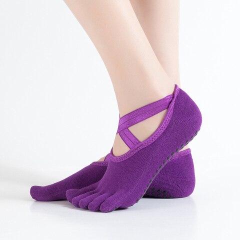 Pares de Meias de Yoga Profissional para Mulheres Meias com Cruz Ballet Pilates Exercício Anti-pular Bandagem Yoga Meia 2