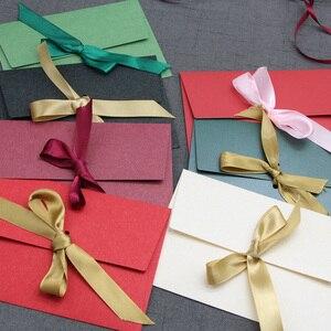 Image 4 - 40 sztuk/partia nowy jedwab wstążka DIY festiwal prezent koperta list papiery Butterfly knot zaproszenie na ślub list szalik, maska pakowania