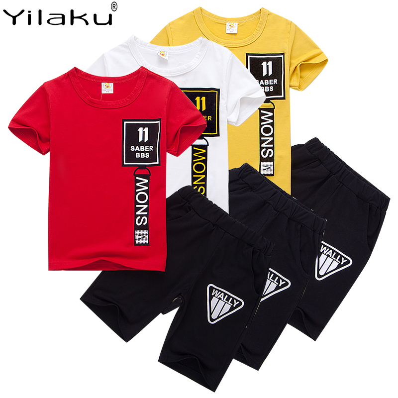 Yilaku Boys Clothes Summer 2020 Letter Print Chilren's Clothing Set Monochrome T-Shirt + Shorts Kids Clothes Free Shipping CF012