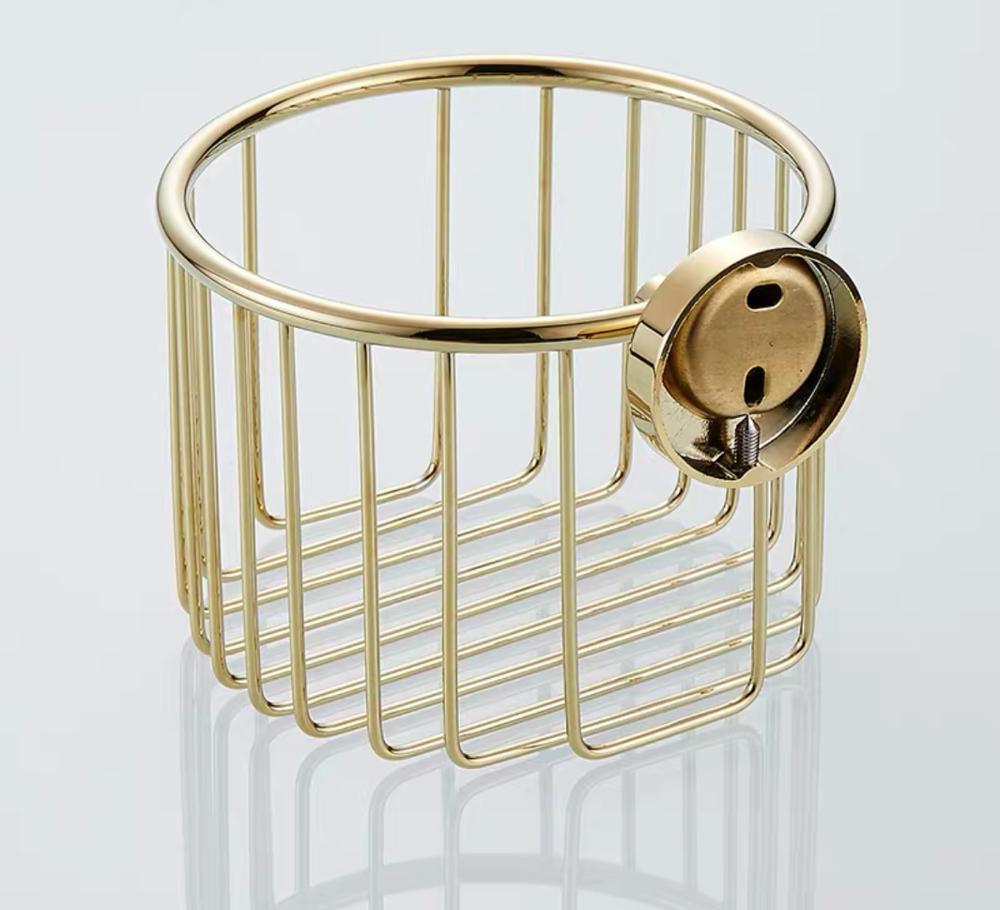 круглый золотой туалет бумага корзина медь% 2F латунь туалет ткань держатель ванная ящик для хранения корзина настенный навесной