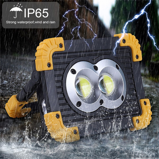 100W Portable Spotlight USB Led Work Lamp Worklight Flashlight Rechargeable 18650 Battery Outdoor Camping Emergency Light