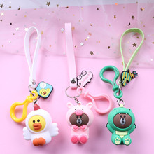 Cute Dinosaur Frog Pig Brown Bear Doll Keyrings kids Cartoon Keychain Kids Toy Key Chain for Women