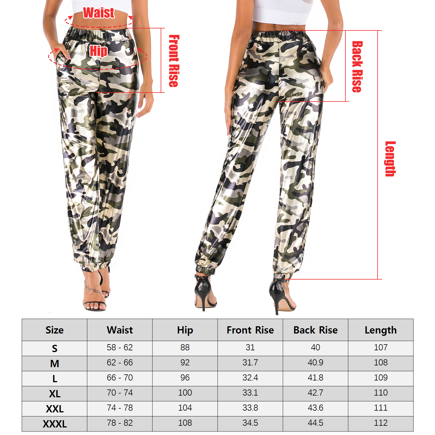 Fashion Women Pants High Waist Sports Casual Jogger Pants Sweatpants Hip Hop Trousers Streetwear with Elastic Cuffs Plus Size 11