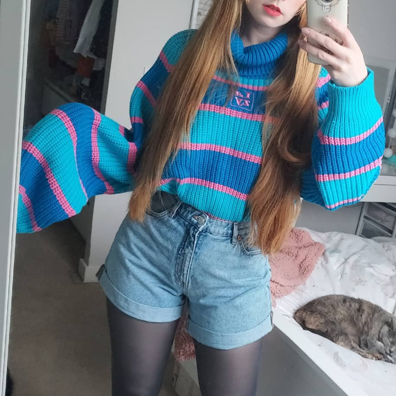 Harjuku Pink & Blue Striped Turtleneck Sweater With Embroidery Lazy Oversized Jumper Knit Top For Women /