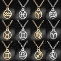 Ожерелье Vnistar из нержавеющей стали с подвеской в виде знака зодиака, простое дизайнерское женское ожерелье с подвеской в виде знака зодиака,...