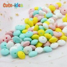 Silicone Necklace Abacus-Beads Teething Nursing Cute-Idea DIY 50pcs Lentil 12mm Food-Grade