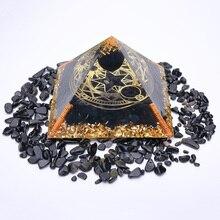 3.74inch Obisidian Orgonite Pyramid For Energy Balancing Reiki Generator Healing Meditation Natural Stone Crystal Orgone Pyramid