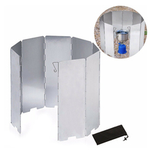 9 Plate Foldable Wind Shield Stove Aluminium Alloy Wind Shield Outdoor Cooking Burner Wind Protector Portable Camping Tool