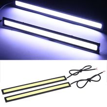 цена на Mayitr 1 Pair 17CM 12V Auto Waterproof Led Lamp Car Working Light COB LED Driving Daytime Running Lights Strip for Car Styling