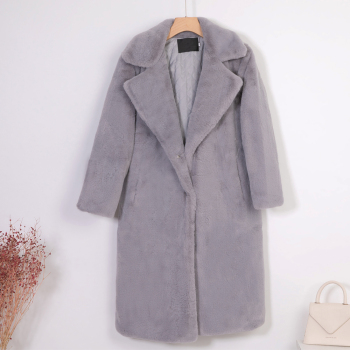 New Women Winter Warm Faux Fur Coat Thick Women Long Coat Turn Down Collar Women Warm Coat With Belt Casaco Feminino 9