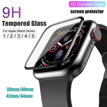цена на PET & PMMA Full Cover 3D Curved Tempered Glass Screen Protector Film for Apple Watch Series 5 4 3 44mm 38mm 40m 42mm for Iwatch
