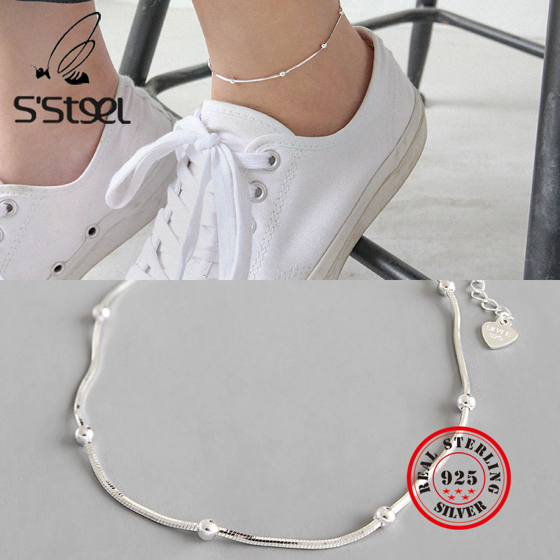 S'STEEL Real 925 Sterling Silver Anklets For Women Ins Concise Snake Chain Chaine De Cheville Foot Leg Acessorios Fine Jewelry