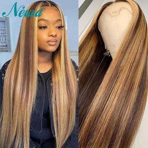 Image 1 - Newa Hair 13x6 스트레이트 레이스 프론트 인간의 머리카락 가발은 아기 머리카락으로 뽑아 냈다. Ombre Highlights 브라질 레미 레이스 프론트 가발