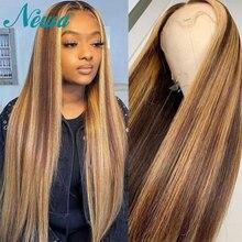 Newa Hair pelucas de cabello humano recto con encaje frontal, 13x6, prearrancadas con pelo de bebé, reflejos ombré, pelucas frontales de encaje Remy brasileño