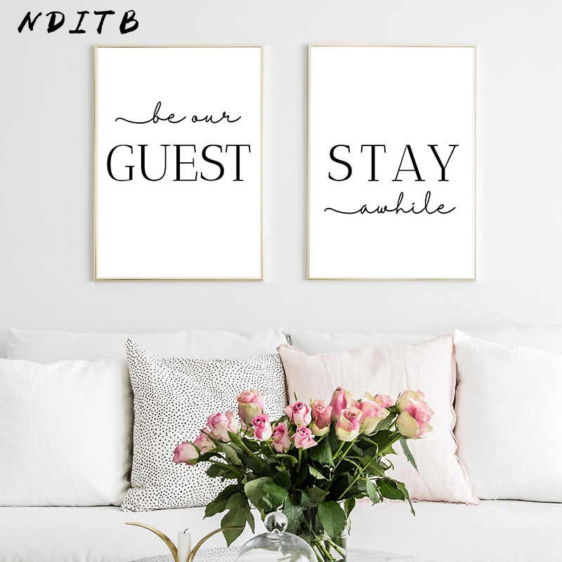 Stay Awhile Wall Art Picture Simple Quotes Poster Black White Print Minimalist Canvas Painting Modern Living Room Decoration Calligraphy Aliexpress