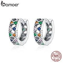 bamoer Silver Colorful  buckles Buckle 100% 925 Sterling Silver Rhombus Shining Stone Earrings for Women Fine jewelry SCE1123