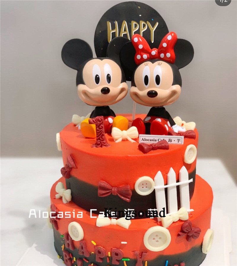 Baby 1st Birthday Decorations Cake Topper Festive Party Supplies Action Figure Minnie Birthday Mickey Toys For Kids Children Cake Decorating Supplies Aliexpress