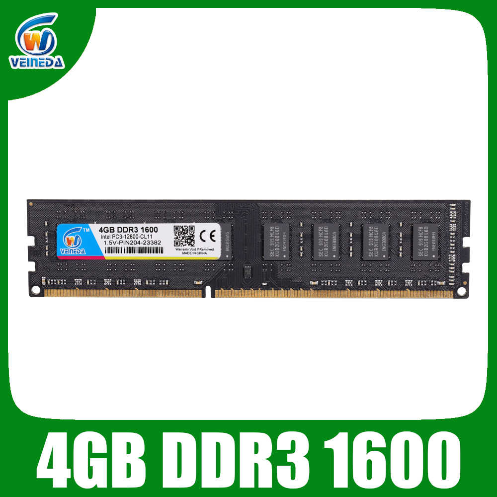 Veineda Memoria DDR3 RAM 4 GB DDR3 1600 Cho DIMM DDR3 RAM Tương Thích Tất Cả Intel AMD Để Bàn PC3-12800 240pin
