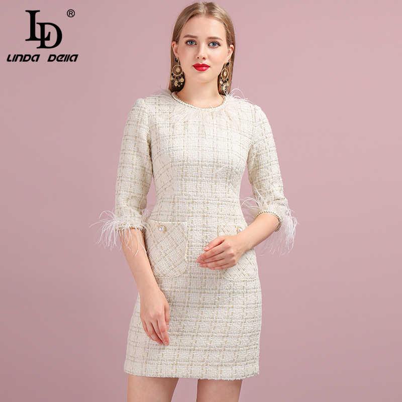 LD Linda della мода взлетно-посадочной полосы платье-мини с Для Женщин Половина рукава перья сращивания плед плетение Повседневное женские Платья для вечеринок
