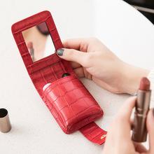 Szminka woreczek Mini PU skórzane kosmetyczki damskie przenośne pudełko do przechowywania szminki torba krokodyl wzór lustro w stylu Vintage Lady tanie tanio CN (pochodzenie) Stałe Sprawy kosmetyczne Hasp AS-994